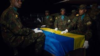 Bodies Of Fallen RDF Peacekeepers Arrive At Kigali International Airport
